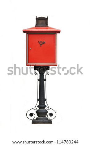 Antique red metal mail box isolated on white - stock photo