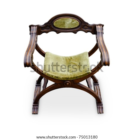 Antique renaissance italian armchair, isolated on a white background - stock photo
