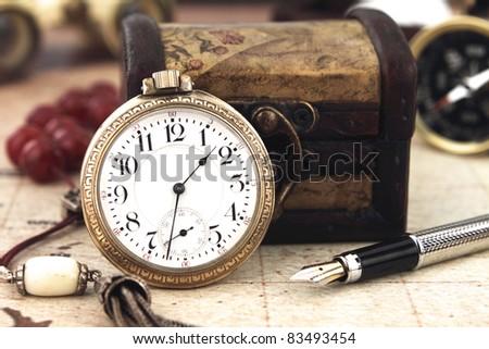 Antique Retro Pocket Clock and decoration objects - stock photo