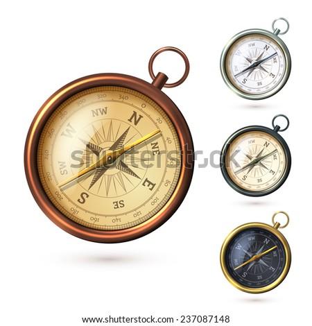 Antique retro style metal  compass set isolated on white background  illustration - stock photo