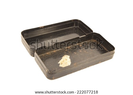 Antique rusty metal box isolated - stock photo