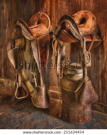 Antique Saddles in a Barn Next to a Milk Can