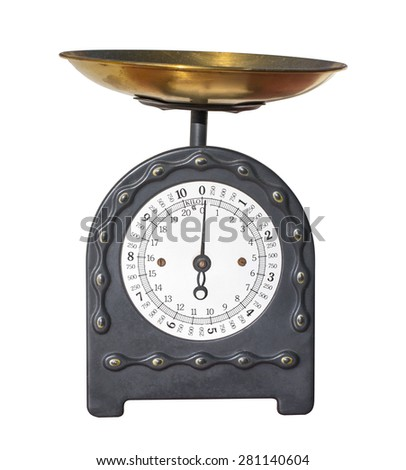 antique scale isolated on white with clipping path - stock photo
