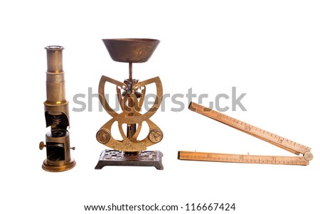 Antique scales, scale, microscope, isolated on white. - stock photo
