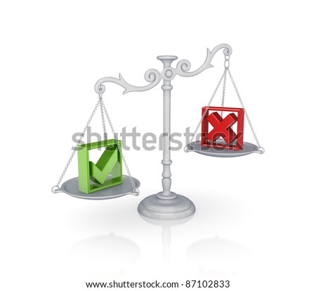 Antique scales with a tick and cross marks. Isolated on white background.3d rendered. - stock photo