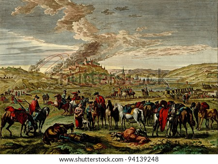 Antique scene of the siege of a hilltop town  from the Atlas of fortifications and battles, by Anna Beek and Gaspar Baillieu  Originally published in 17th century. - stock photo