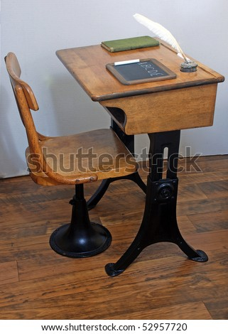 Antique School Desk Chair On Old Stock Photo 52957720