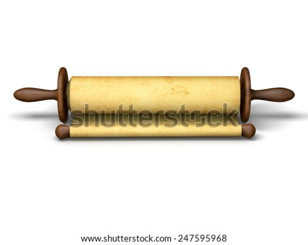 Antique scroll of parchment manuscript isolated on white - stock photo