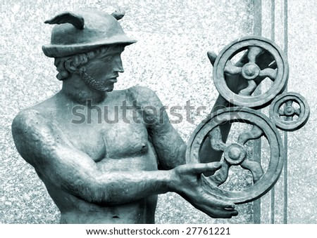 antique sculpture of Mercury - stock photo