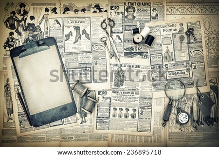 antique sewing and writing tools, vintage fashion magazine for the woman. clipboard for your text. retro style toned picture - stock photo