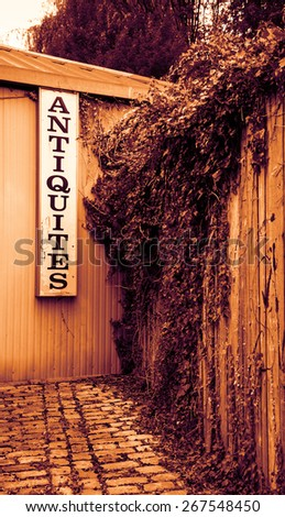 Antique shop sign near old wooden garden wall overgrown with a ivy shrub. Toned photo. - stock photo