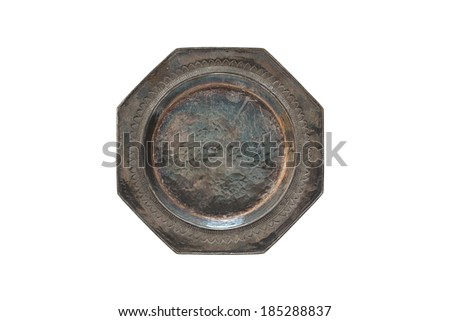 Antique silver coasters isolated on white background (Top view)