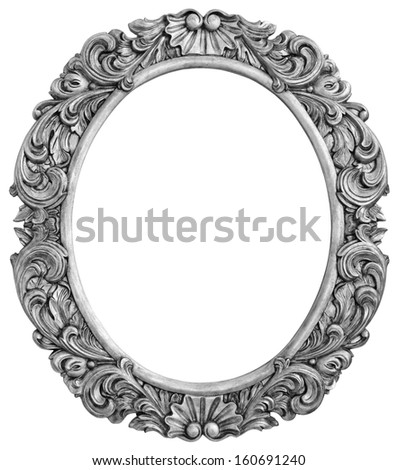 Antique silver plated frame Isolated with Clipping Path - stock photo