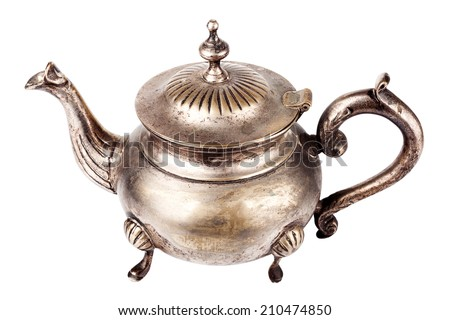 Antique silver plated teapot on white background