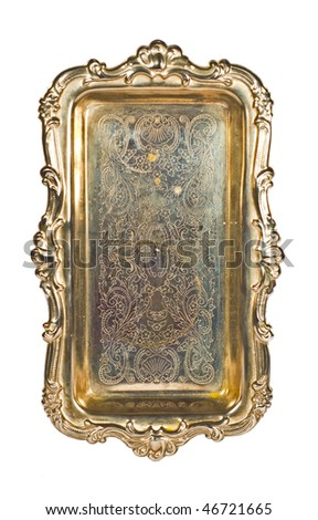 Antique Silver Tray On White - stock photo