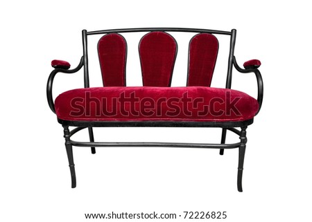 antique sofa, red bench