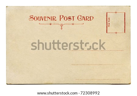 Antique Souvenir Postcard back - stock photo