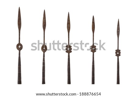 Antique spearhead isolated on white background - stock photo