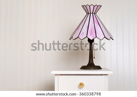 antique stained glass lamp - stock photo