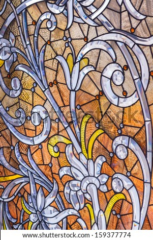Antique stained glass with crystal. - stock photo