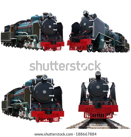 Antique steam engine train isolated on white background, with clipping path. - stock photo