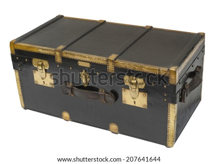 Antique steamer trunk in brass and wood custom made in Paris before WWII, isolated - stock photo