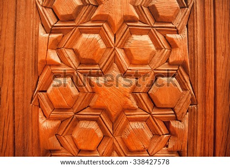 Antique style design with islamic patterns on wooden door, Syrian house - stock photo