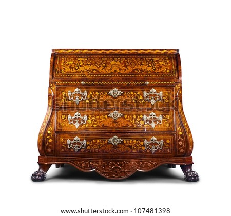 Antique style dresser isolated on white - stock photo