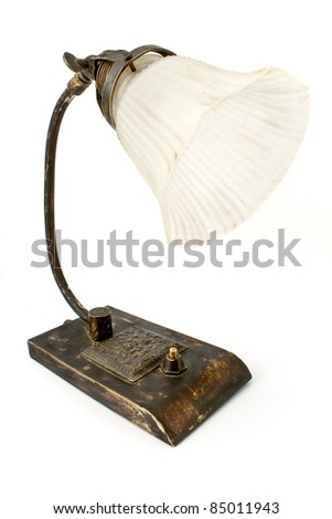 Antique table lamp isolated on white - stock photo