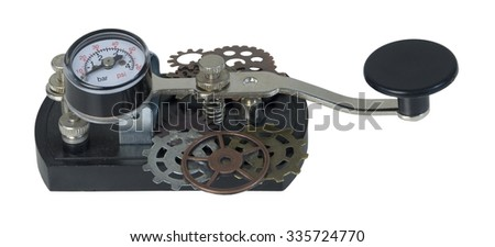 Antique telegraph key with gears used as a communication device for Morse Code - path included - stock photo
