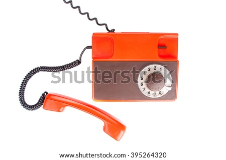 Antique telephone on white background. Top view