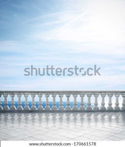 Antique terrace overlooking the sea - stock photo