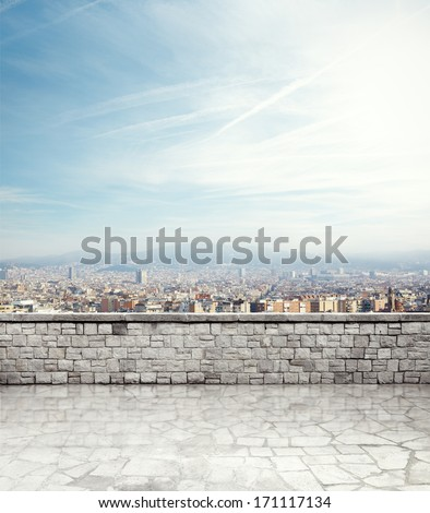 Antique terrace with mediterranean city view - stock photo