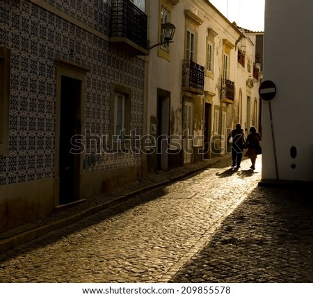 Antique tiled street at sunset in Portugal.