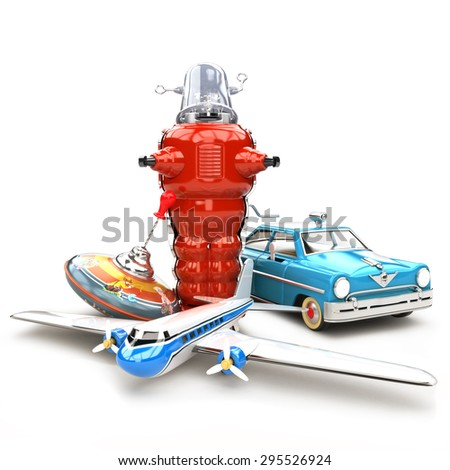 Antique toy collection. Assortment of toys during the 1950's and 1960's isolated on a white background. - stock photo