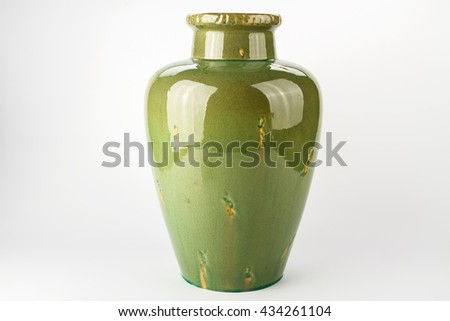 Antique traditional green vase on a white background - stock photo