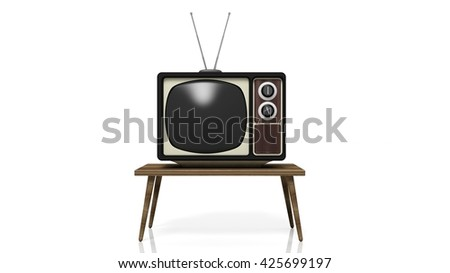 Antique TV set on table, isolated on white background. 3D rendering