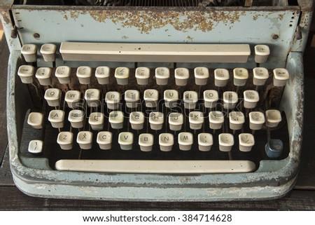 Antique Typewriter - An Antique Typewriter Showing Traditional - stock photo