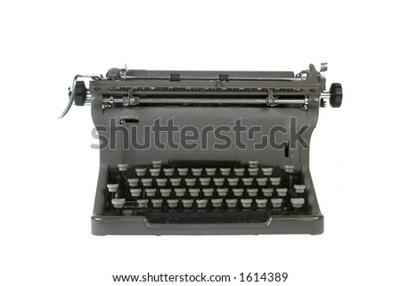 Antique typewriter isolated against white background