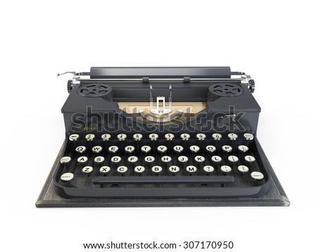 Antique typewriter isolated on white background  - stock photo