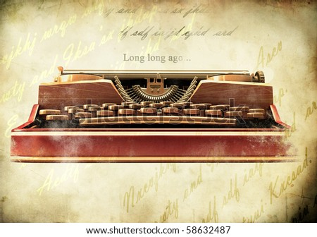 Antique typewriter on vintage paper background - stock photo