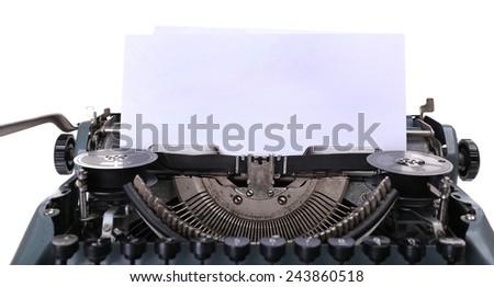 Antique Typewriter. Vintage Typewriter Machine, isolated on white - stock photo