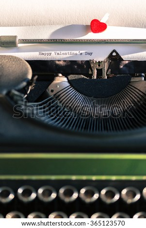 Antique typewriter with the words Happy Valentine's Day - stock photo