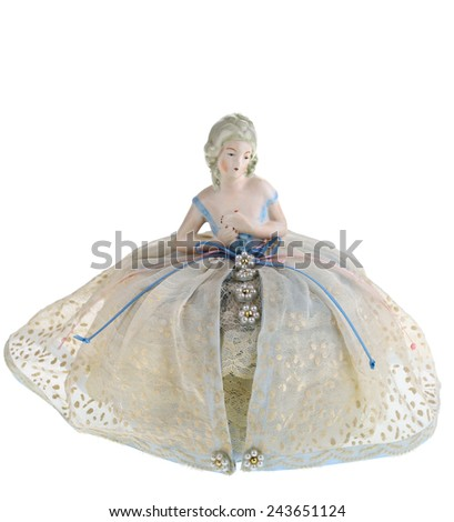 Antique Victorian Decorative Old Doll Pin Cushion with Bust and Dress - stock photo