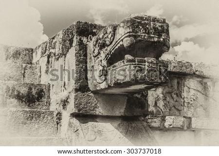 Antique vintage of Chichen Itza Maya ruins on Yukatan Peninsula, Mexico. - stock photo