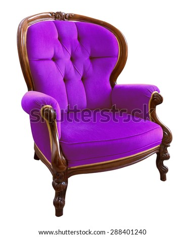 Antique  violet armchair isolated on white background - stock photo
