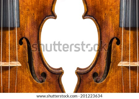 Antique violin isolated on the white background - stock photo