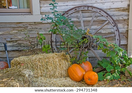 Antique wagon wheel leaning against a building with hay bales and pumpkins to create an autumn feel. - stock photo