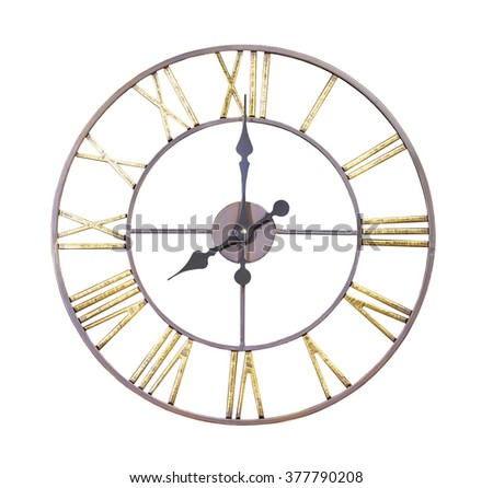 Antique wall clock isolated on white background - stock photo