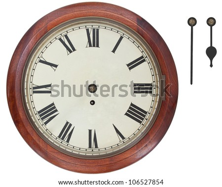 Antique Wall Clock with Roman Numerals isolated on white background with clipping path. Separate Hour and Minute hands to show anytime. - stock photo